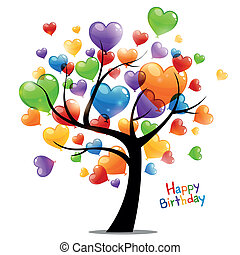 anniversaire, vecteur, carte voeux, heureux