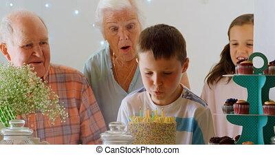 anniversaire, vue frontale, leur, petit-fils, multi-generation, comforta, caucasien, célébrer, famille