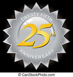 anniversario, 25, distintivo, argento, sigillo