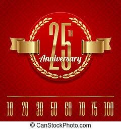 anniversario, dorato, emblema