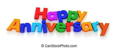 anniversario felice, in, colorito, lettera, magneti