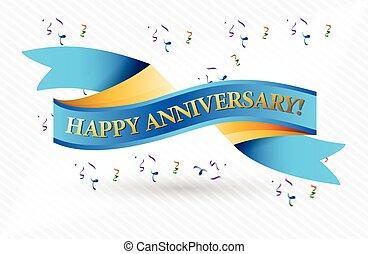 anniversario felice, nastro blu