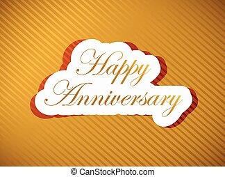 anniversario felice, oro, segno