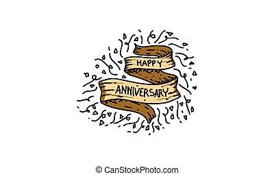 anniversario felice, sagoma, vettore