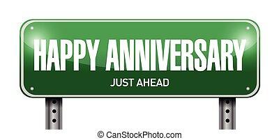 anniversario felice, segno strada