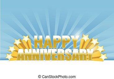 anniversario felice, stelle, scheda