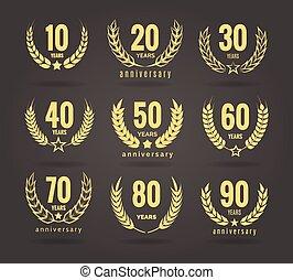 anniversario, ghirlanda, set