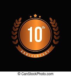 anniversario, illustrazione, vettore, disegno, sagoma, 10