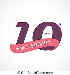 anniversario, illustrazione, vettore, sagoma, logotipo, 10