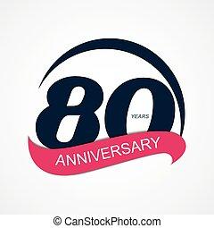 anniversario, illustrazione, vettore, sagoma, logotipo, 80