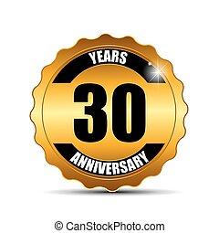 anniversario, indorare, etichetta, segno, sagoma, vettore, illustrazione