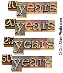 anniversary concept - 10, 20 ,25, 50 years - isolated text in vintage wood letterpress printing blocks stained by color inks