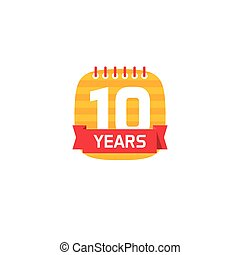 Anniversary 10 calendar logo, 10th years icon