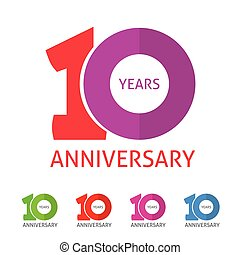 Anniversary 10th logo template with shadow on circle number...