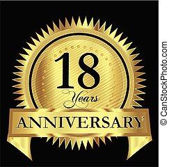 Anniversary 18 years gold vector design