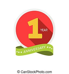 Anniversary 1st logo template with shadow on circle number one