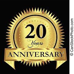 Anniversary 20 years gold vector design