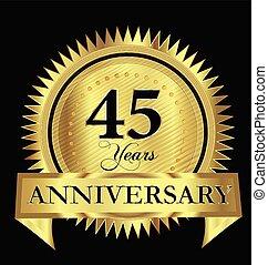 Anniversary 45 years gold vector design