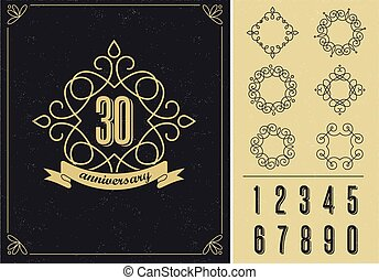 anniversary - art line background with frames
