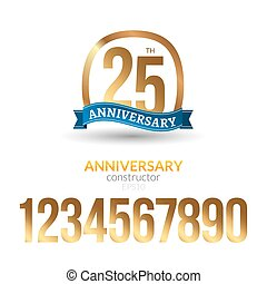 Anniversary badge label ribbon sign design. Anniversary constructor with golden numbers. Congratulation symbol