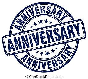 anniversary blue grunge stamp