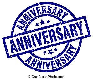 anniversary blue round grunge stamp
