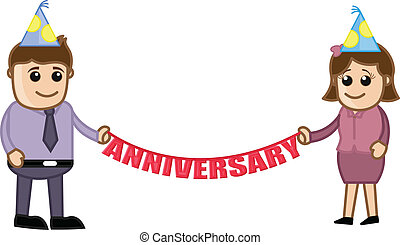 Drawing Art of Young Business Office People Celebration Anniversary Vector Illustration