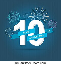 Anniversary celebration of numbers background with fireworks. vector illustration