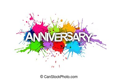 ANNIVERSARY. Colorful banner of colorful splashes of paint.