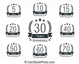 Set of anniversary emblems, vector eps10 illustration
