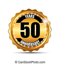 Anniversary Gild Label Sign Template Vector Illustration