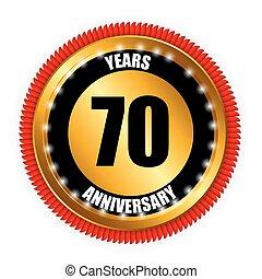Anniversary Gild Label Sign Template Vector Illustration