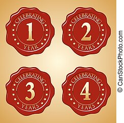 Anniversary Gold on Red Seal 1 - Vector Set Anniversary Red ...
