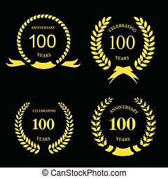 Anniversary golden laurel wreath, 100 years