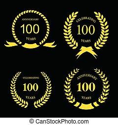 Anniversary golden laurel wreath, 100 years
