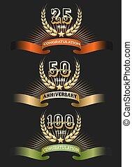 Anniversary golden logo set