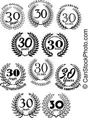 Anniversary heraldic laurel wreaths symbols
