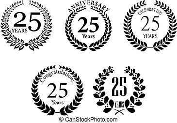 Anniversary jubilee laurel wreaths set with text Congratulations, 25 years, Anniversary. For jubilee, Anniversary and celebration design