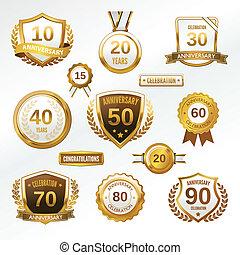Anniversary label set - Anniversary celebration golden ...