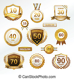 Anniversary label set - Anniversary celebration golden...