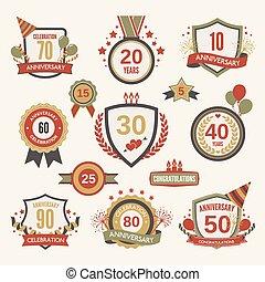 Anniversary label set - Anniversary celebration retro label...