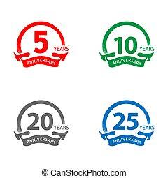 Anniversary label stock, flat design, Colorful set label, vector