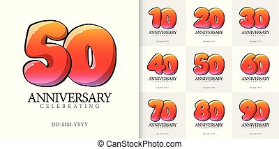 Anniversary numbers collection Cartoon style. Poster template for Celebrating anniversary event party. Vector illustration