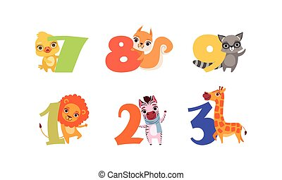 Anniversary Numbers with Cute Animals Set, Duckling, Squirrel, Raccoon, Lion, Zebra, Giraffe Cartoon Style Vector Illustration