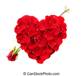 Anniversary or Valentine Cupid Heart Shape Made Of Rose...