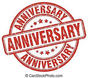 anniversary red grunge stamp