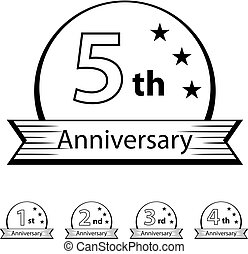 anniversary ribbon number 1 2 3 4 5 - illustration for the web