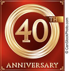 Anniversary ring gold - Anniversary gold ring logo number...