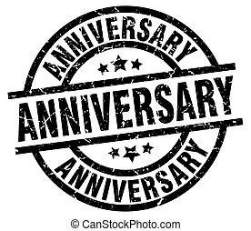 anniversary round grunge black stamp