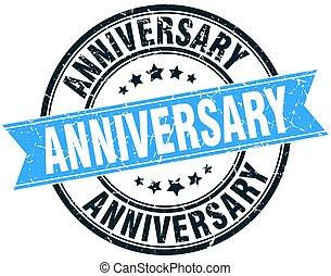 anniversary round grunge ribbon stamp
